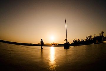 名護イーテクノロジー 屋上から望む夕日